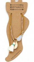 E-F23.1 ANK221-018 Anklet with Tassel and Shell Brown