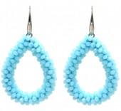 F-E19.3  E007-001F Facet Glass Beads 4.5x3.5cm Blue