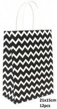 Y-E4.3 PK525-006A Paper Giftbag Zigzag 21x15cm Black-White 12pcs