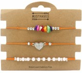 F-F4.2 B1936-009C Bracelet Set 3pcs Pearls-Stones-Heart Orange