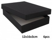 Z-D1.5  Giftbox for Necklace-Earrings-Ring 12x16x3cm Black 6pcs