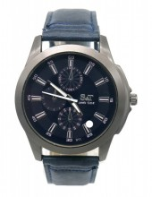 A-C16.2 W523-011B Quartz Watch with PU Strap 45mm Blue