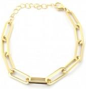 B-E8.1 B2003-005G S. Steel Chain Bracelet Gold
