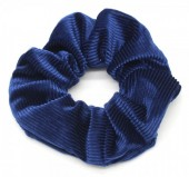 S-D6.2 H350-022D Rib Fabric Shiny Scrunchie Blue