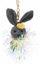 S-G3.3 KY2035-001E Keychain Glitter Bunny 15cm Grey
