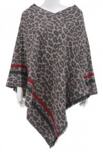 Y-B1.2 SCARF008-027C Leopard Poncho Brown-Green