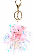 S-D3.3 KY2035-004C Keychain Bear with Glitters 8cm Pink