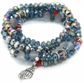 X-E1.1 B514-008 Layered Bracelet Facet Glass Beads Blue