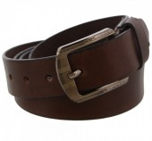 S-C7.5  Grain Leather Belt 3.3x120cm Adjustable 101-111cm Dark Brown