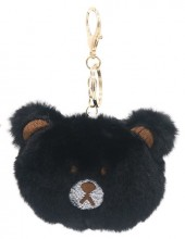 S-H1.2  KY2035-027A Keychain Fluffy Bear 9x7x3cm Black
