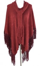 Z-A1.1 Luxury Poncho with Suedine Fringes Red