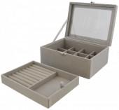 T-F6.1  PK424-072 Luxury Jewelry Box 20x15x8.5cm Grey
