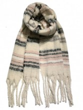 Z-C2.2 S108-002 Thick Winter Scarf with Lines 50x180cm Beige