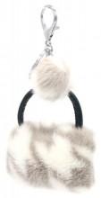 S-G5.3 KY2035-033B Keychan Fluffy Bag 9x7x3cm White