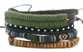 B517-001 Leather Bracelet Set with Wood