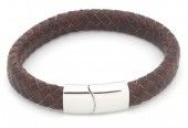 F-A2.1 B105-002 Leather Bracelet with Stainless Steel Lock 21cm Brown