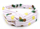 S-I3.1 H040-001 Headband with Stripes-Pineapples-Lemons Purple-White