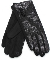 S-B2.4  GLOVE403-002C Gloves Shiny Snake Black