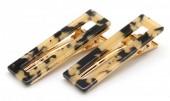E-F8.1 H413-003 Hair Clip Set 2pcs Marble Brown