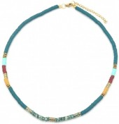 E-C19.3 N1941-001A Surf Necklace with Semi Precious Stones Blue-Multi
