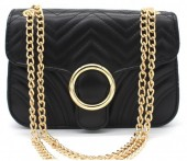 Y-E3.2 BAG122-005 Trendy PU Shoulder Bag Black 20x15x7cm