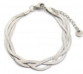D-B5.4 NB2142-001-B S. Steel Bracelet Woven Silver