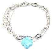 E-A7.4 B220-028S Layered S. Steel Bracelet with Turqoise Clover