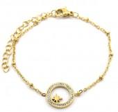 D-D8.3 B2020-002G S. Steel Bracelet 13mm Northern Star Crystals Gold