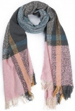 Y-D3.4 SCARF408-005F Checkered Soft Scarf 190x67cm