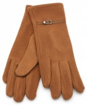 S-D6.3 GLOVE403-004G Soft Gloves with PU Strap and Crystal Brown