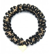 D-F18.1 H2039-001B Hair Elastic with Faceted Glass Beads Black