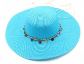 Q-A6.1 HAT210-002 Hat with Wooden Beads Blue