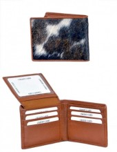 A-F16.1 Leather Wallet with Cowhide Brown with Mixed Color Cowhide 9x11.5cm