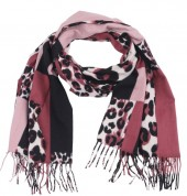 Y-B3.3 SCARF405-025D Soft Scarf Checkered Leopard 180x70cm Pink