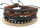 B517-006 Leather Bracelet Set with Rope