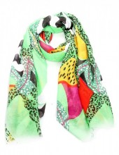 X-I3.1  S314-001 Scarf with Fantasy Animal Print 180x90cm Green
