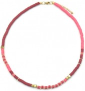 E-D5.4  N1941-001F Surf Necklace with Metal Beads Pink-Bordeaux