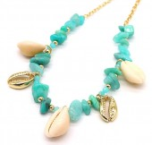 E-D10.2 N2019-046G Necklace Amazon Stones and Shells Gold