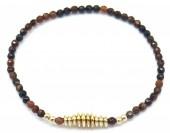A-A6.2 B2019-042G Semi Precious Stones Bracelet Brown-Gold