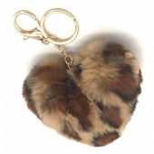 B-F15.1  KY414-001F Fluffy Keychain 10cm Heart Leopard Brown