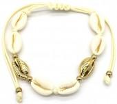 C-E8.1  B2001-021B Bracelet with Shells Gold-Beige