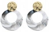 D-A9.2 E515-003 Statement Earrings 6x4.5cm Grey-Gold
