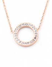 E-C20.1  N410-003 S. Steel Necklace Crystal Circle 15mm Rose Gold