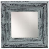 R-B3.2 Small Mirror in Wooden Frame 16x16x3cm Blue-Grey