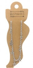 E-A7.5  ANK2110-020 Stainless Steel Anklet Stars