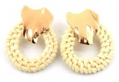 B-B22.3  E426-014 Straw with Metal Earrings 50x40mm Gold