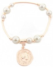 C-E19.2 B2019-001RG Bracelet with Pearls and Coin Rose Gold
