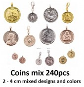 Mixed Coin Pendants Mixed Designs and Colors 240pcs