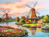 Q-O6.2 X396 Diamond Painting Set Windmills 40x30cm