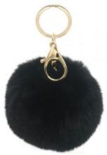 S-C1.3  KY414-004B Bag-Keychain Fluffy  9cm Black